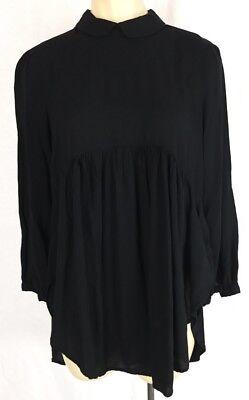 Cooperative Black Long Sleeve Witch Gothic Babydoll Blouse Sz Xs K942
