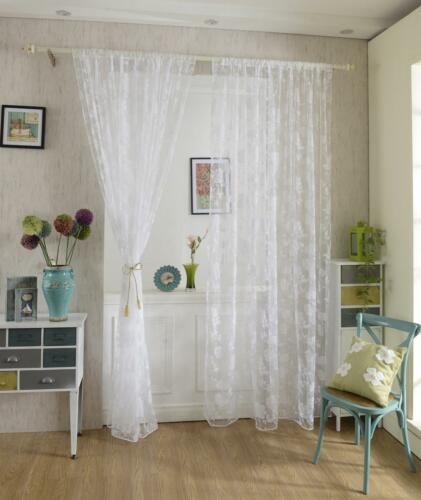 2xFlocking Peony Voile rideau panneau fenêtre balcon Tulle Drape Divider