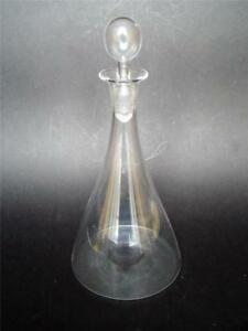 Arts-amp-Craft-Hand-Blown-Clear-Glass-Ships-Flask-Decanter-with-Bubble-Stopper