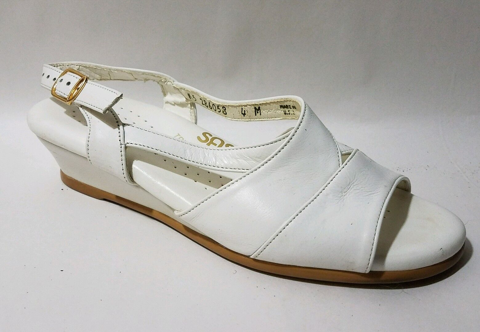 SAS Tripad Comfort White Leather Open Toe Ankle Strap Sandal Wmns 4 M shoes Wedge
