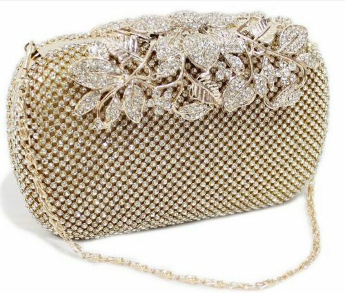 Unique Clasp Bling Diamante Crystal Diamond Evening bag Clutch Purse Party Prom