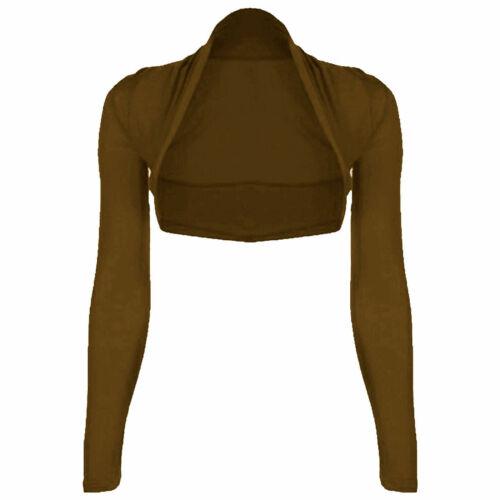 Womens Plain Long Sleeves Cropped Bolero Shrug Top Ladies Cardigan UK Size 8-18