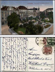 CHEMNITZ-Sachsen-alte-AK-1920-Haeuser-Partie-Poststrasse-mit-Becker-Denkmal