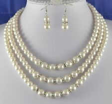 3 TIERED CREAM GLASS  PEARL & RHINESTONE NECKLACE  AND  EARRINGS  SET