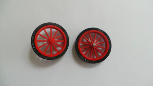 Parts 35 and 36 Lego Wheel Red Spokes Large with Black Tyre VGC x 1