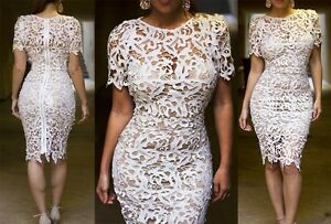 Chic-Fashion-Women-Short-Sleeve-Hollow-Embroidery-Dress-Solid-Pencil-Skirt-Yoooc