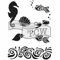 Tcw Crafters Workshop 6x9 In. Zenspirations Stencil Mask The Sea Shells, Fish