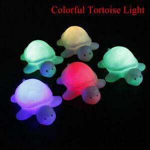 Linda-forma-de-tortuga-luces-led-noche-magica-colorido-Lampara-Habitacion-cambiando-Decoracion-De