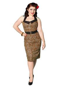 NEW-Rockabilly-50s-80s-Dress-Designer-Halterneck-Leopard-Print-Wiggle-Dress