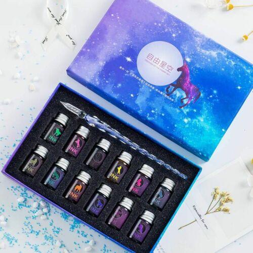 Crystal Glass Starry Sky Pen Dip Glitter Powder Unicorn Fountain Ink 13//7 Colors
