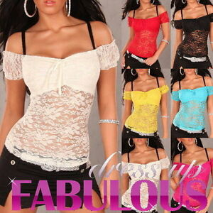 Sexy-Women-039-s-Sheer-Lace-Latina-Top-Shirt-Hot-Party-Evening-Size-6-8-10-XS-S-M