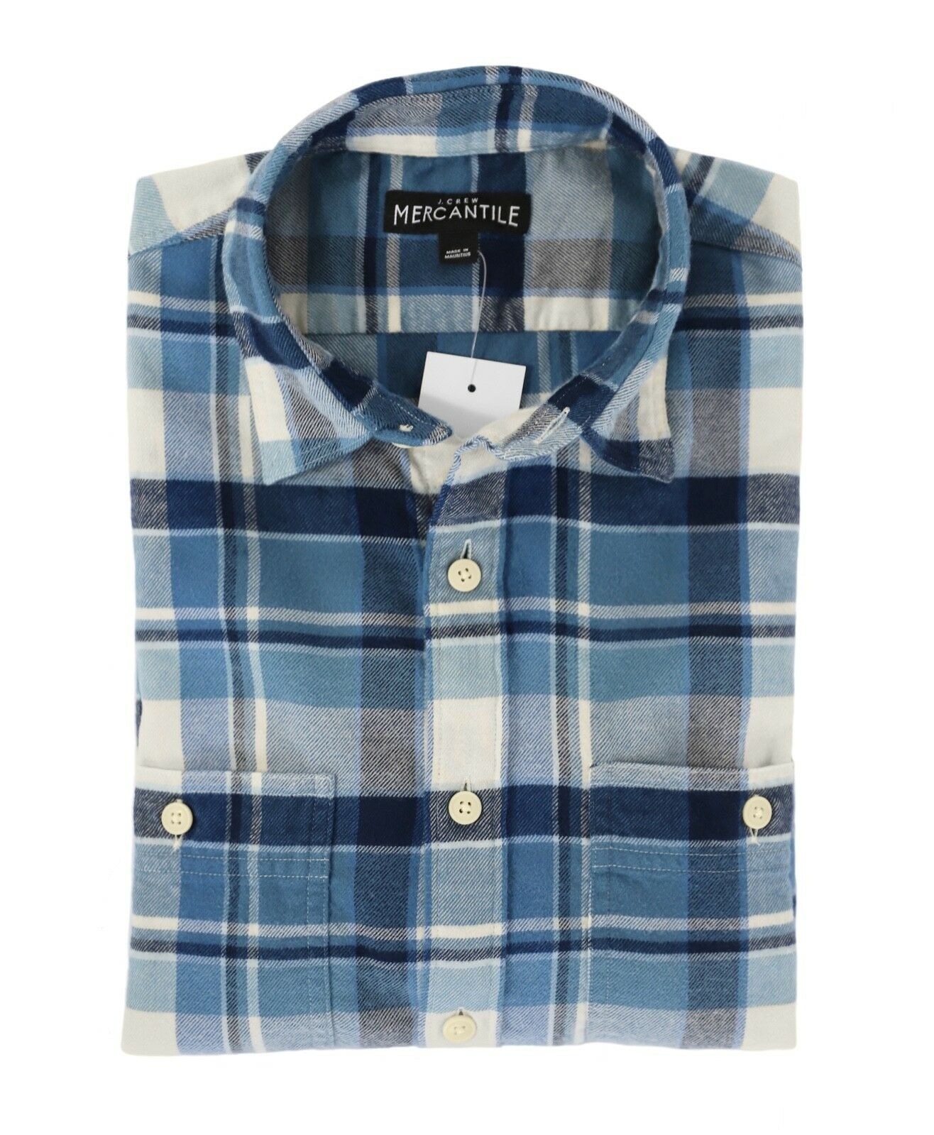 J.Crew Mercantile Mens L Slim Fit - NWT - bluee Plaid Flannel Shirt