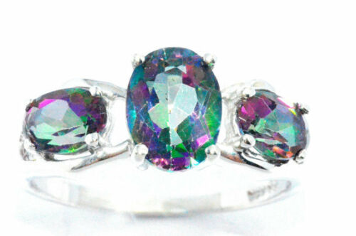 2 ct Genuine Mystic Topaz Ovale Anneau Argent Sterling .925