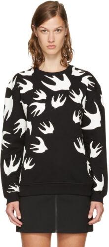 /% 100 AUTHENTIC woman Swallow Print Sweatshirt  Black white  M C Q defect