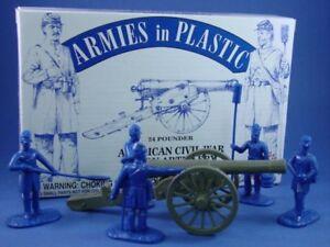 ARMIES-IN-PLASTIC-5499-Civil-War-Union-Artillery-Set-24-Pound-Cannon-w-Crew