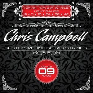 3 SETS CHRIS CAMPBELL CUSTOM ELECTRIC GUITAR STRINGS #4702 LIGHT GAUGE