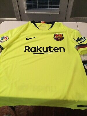 best sneakers 535d1 268ad Nike FC Barcelona Jersey Away 2018/2019 Volt Green 918990-703 Mens M New  90$ Tag | eBay