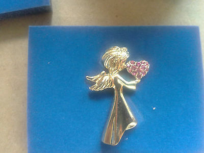 "AVON 2007 ""WITH ALL MY HEART"" ANGEL PIN--PINK/FAITH--NEW--SHIPS IN 1 DAY"