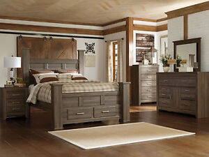 Details about MARCO 5 pieces Modern Cottage Brown Queen Poster Storage  Bedroom Furniture Set