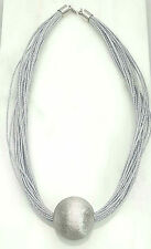 Sterling Silver Rhodium Plated Fashion Ball Pendant Necklace