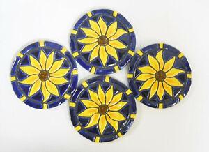 SUNFLOWER COASTERS  Mosaic Ceramic Tile Handmade Trivet Cobalt Blue Set of 4