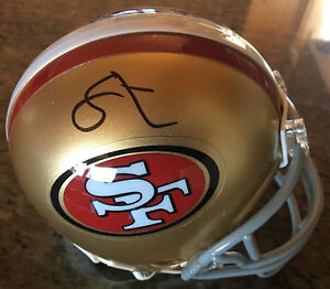 49ers-Soloman-Thomas-Authentic-Signed-Mini-Helmet-w-PPC-COA-amp-Signing-Picture