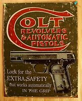 Colt - Extra Safety Tin Sign , 12x16, New, Free Shipping on sale