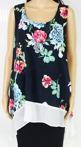 Karen Kane Womens Top Blue Multi Size 2X Plus Floral Print Scoop-Neck $129 247