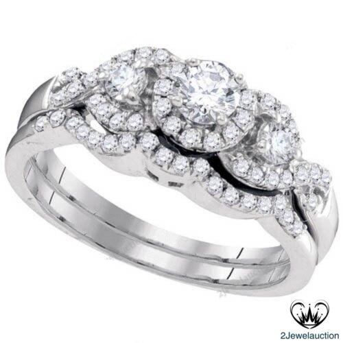 1.21 CT Round Shape 3-Stone Diamond Halo Engagement Ring Wedding Band Bridal Set