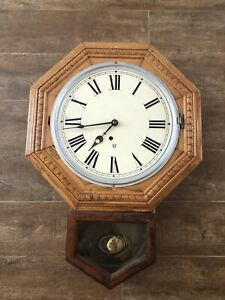 Waterbury Clock Co Wall FOR PARTS OR REPAIR light oak wood pendulum vintage