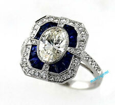 3.09CT Vintage Art Deco White Oval Cut 10K White Gold Engagement Ring &Certified