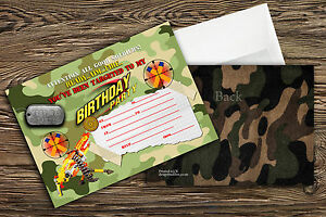 Image is loading Nerf-gun-Nerf-war-Army-Birthday-Party-Invitations-