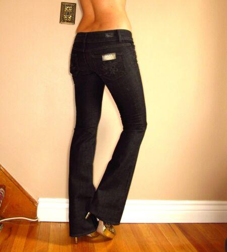 Paige Premium Hidden Hills Bootcut High Rise RARE Las Flores Black Jeans 24 New