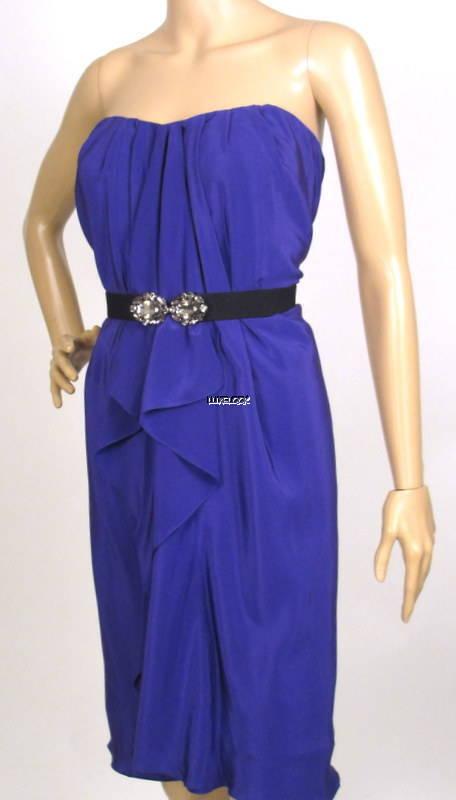 NWT BCBG MAXAZRIA WOVEN SILK DREGAL blueE BELTED DRESS M