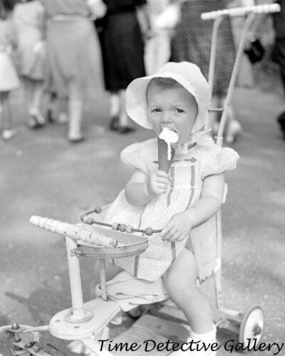 1942 Historic Photo Print Toddler Eating Ice Cream Cone Detroit Michigan