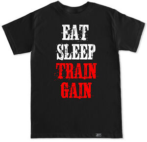 Eat sleep train gain gym crossfit workout health running for Funny crossfit t shirts
