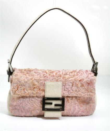 FENDI Blush Persian Lamb Fur Baguette Felted Fleck