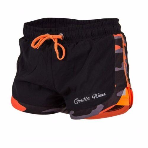 Gorilla Wear Women's Denver Shorts Black//Neon Orange  Bodybuilding Fitness