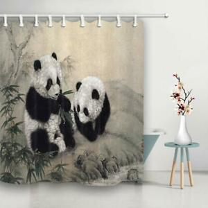 Animal Shower Curtain Fabric Curtains Chinese Creature Wild Panda Eating Bamboo