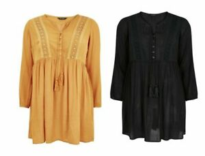 New-Evans-Ladies-Womens-Black-Yellow-Plus-Crochet-Long-Sleeve-Tunic-Blouse-Top