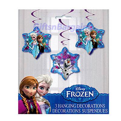 DISNEY FROZEN BIRTHDAY PARTY HANGING SWIRL DECORATIONS SNOW FLAKE (3) 26″ XMAS