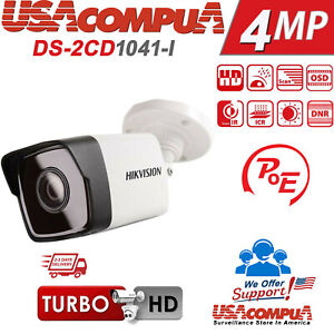 Details about Hikvision 4MP POE Bullet DS-2CD1041-I HD Outdoor Network IR  40M Bullet Camera