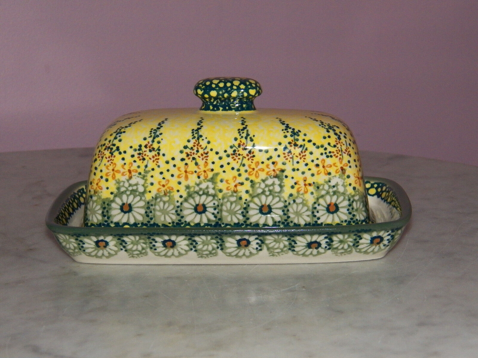 Polish Pottery American Butter Dish  UNIKAT Signature Exclusive Miss Daisy