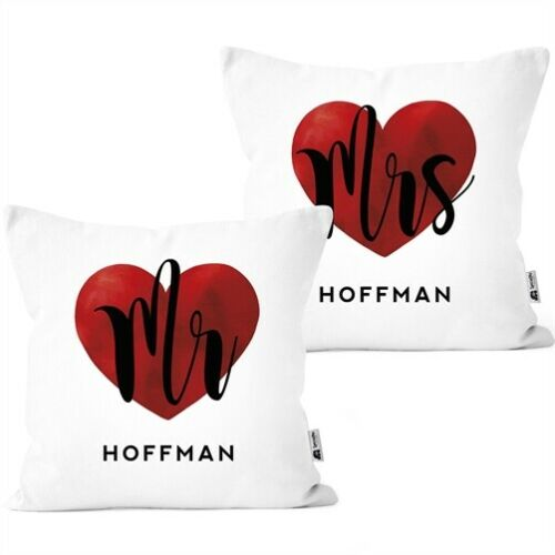 Mr /& Mrs partner cushions-covers 2er Set Personalised with name as a gift