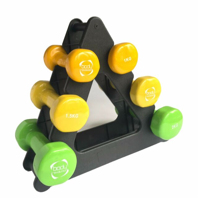 9Kg Ladies Aerobic Vinyl Dumbbell Weights Set & Rack for Home Aerobics Training