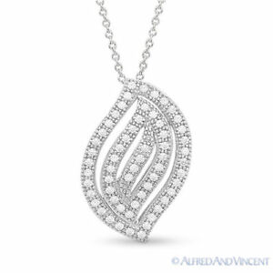 Sterling Silver Micro Pave CZ Leaf Pendant 5//8 inch Long