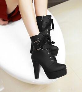 954da2eccba Women Platform High Heel Stiletto Round Toe Lace Up Ankle Boots Sexy ...