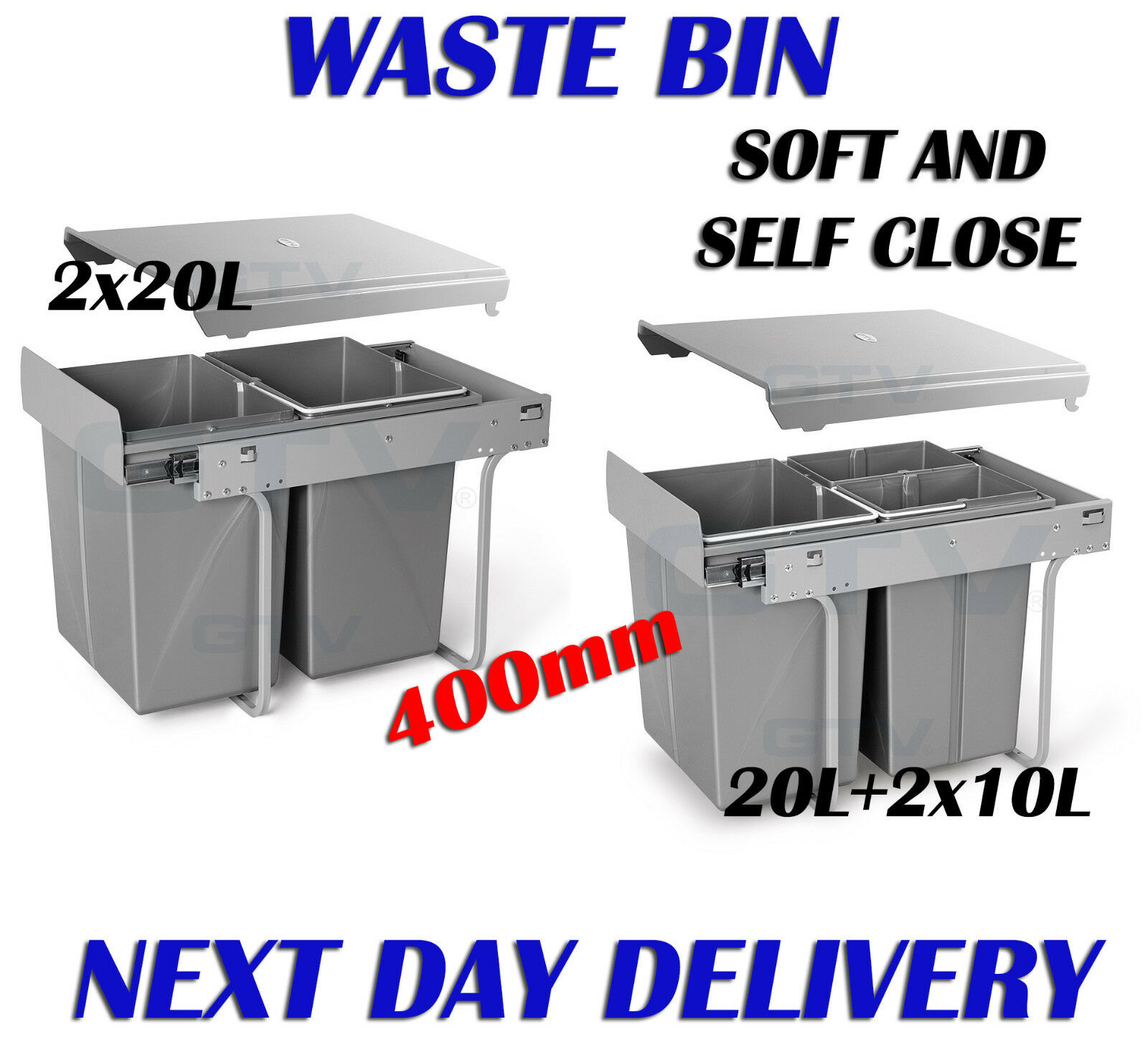 CARGO PULL OUT RECYCLE BIN KITCHEN HINGED  DOOR  BIN SOFT AND SELF CLOSE 400mm