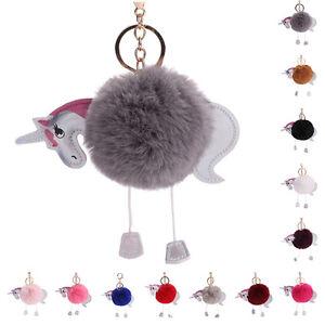 Flamingo-Unicorn-Keychain-Keyring-Handbag-Fur-Bag-Charm-Pendant-Girl-Gift-Decor