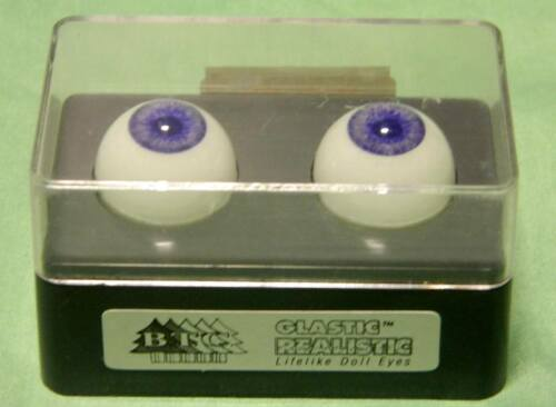 Glastic Realistic Doll Eyes 18mm Violet Lifelike New